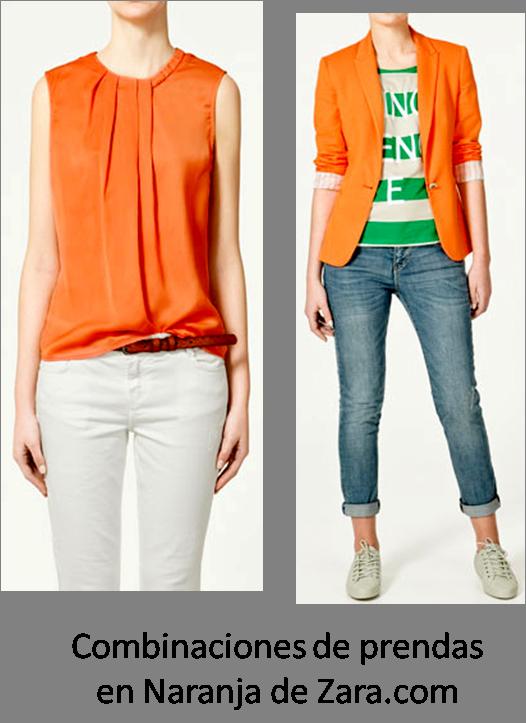 Combinaciones de naranja sugeridos en Zara.es