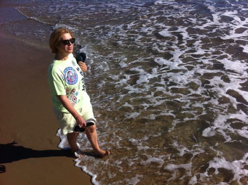 disfrutando la playa