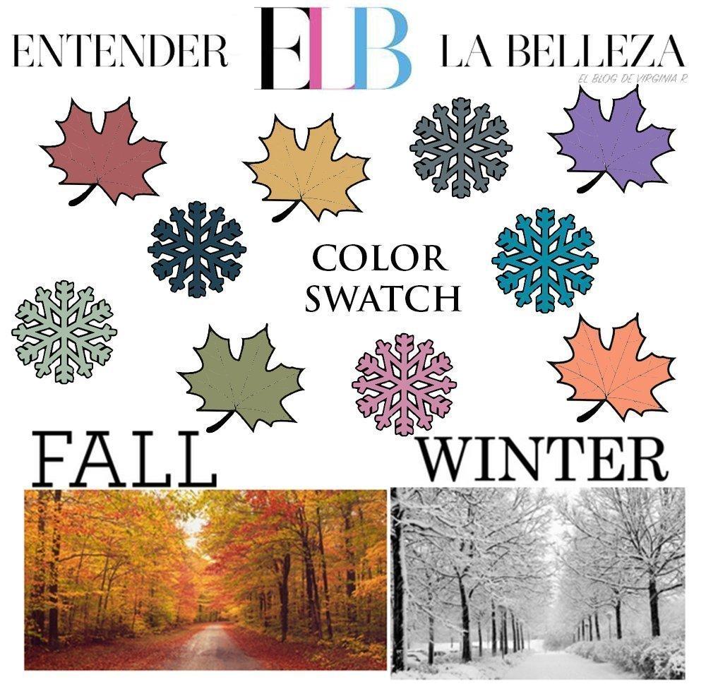 Aquí tenemos todos los colores de esta temporada. Como ya he comentado las hojas son colores cálidos y los copos de nieve colores fríos.